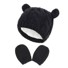 Load image into Gallery viewer, New Baby Kids Girls Boys Winter Warm Knit Hat Ear Solid Warm Cute Glove 2pcs Lovely Beanie Cap 0-18M - shopbabyitems