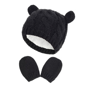 New Baby Kids Girls Boys Winter Warm Knit Hat Ear Solid Warm Cute Glove 2pcs Lovely Beanie Cap 0-18M - shopbabyitems