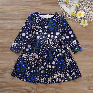 New Dress Girl Kids Children Clothing Cotton Colorful Floral Printed Casual O-Neck Princess Long Sleeve Dress Girls Dresses - shopbabyitems