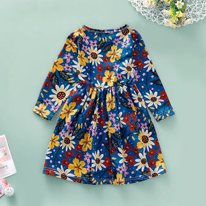 New Dress for Girl Kids Children Clothing Cotton Colorful Floral Casual Printed O-Neck Princess Long Sleeve Dress Girls Dresses - shopbabyitems
