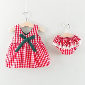 New Newborn Baby Girls Clothes Sleeveless Dress+Briefs 2PCS Outfits Set Striped Printed Cute Clothing Sets Summer Sunsuit 0-24M - shopbabyitems