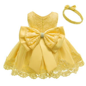 New Princess Baby Dress Lace Bow Baby Girl Dresses 3 Months To 12 Months For Wedding And Party - shopbabyitems