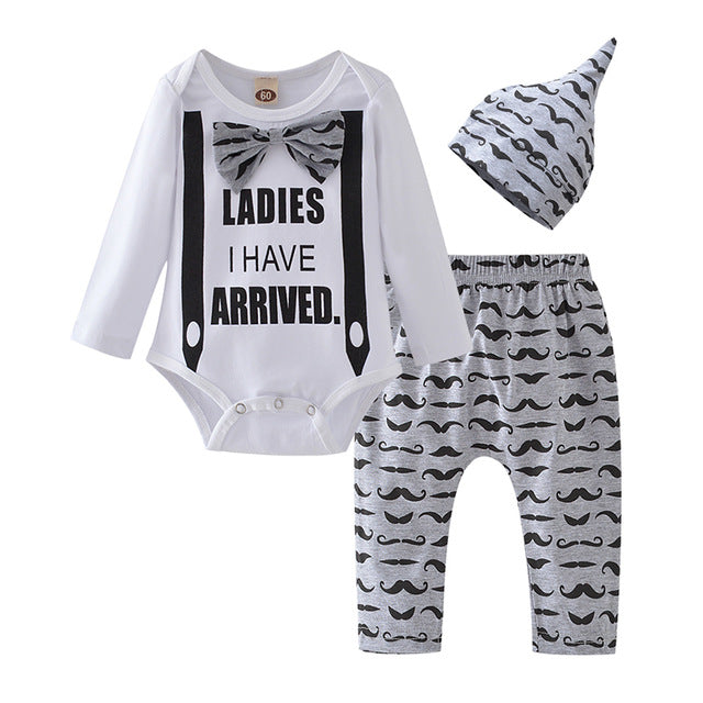 Newborn Baby Boy Clothes Set Mommy's New Man Letter Cotton Bodysuit Tops Cloud Stripe Pants Hat Autumn Infan Clothing Outfits - shopbabyitems