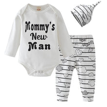 Load image into Gallery viewer, Newborn Baby Boy Clothes Set Mommy's New Man Letter Cotton Bodysuit Tops Cloud Stripe Pants Hat Autumn Infan Clothing Outfits - shopbabyitems