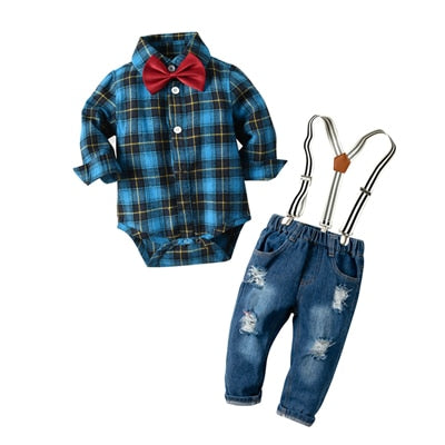 Newborn Baby Boy Denim Clothes Cotton Plaid Rompers Gentleman Bib Jeans Clothing Suit Outfit 6 - 24M - shopbabyitems