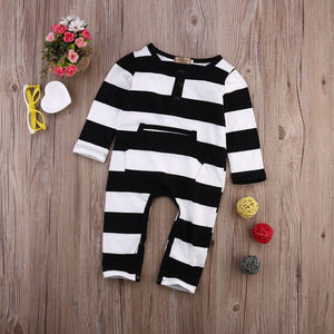 Newborn Baby Boy Girls Striped Cotton Romper Long Sleeve Jumpsuit Outfit Clothes - shopbabyitems