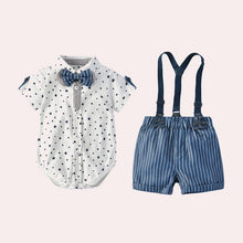 Load image into Gallery viewer, Newborn Baby Boy Romper Bow Tie Outfit Suit Toddler Boys Clothes Suit Stars Summer Gentleman Jumpsuit + Suspenders Shorts 0-24M - shopbabyitems