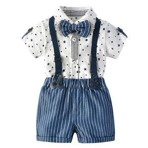 Newborn Baby Boy Romper Bow Tie Outfit Suit Toddler Boys Clothes Suit Stars Summer Gentleman Jumpsuit + Suspenders Shorts 0-24M - shopbabyitems
