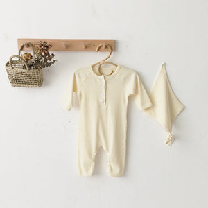 Newborn Baby Girl Boy Bodysuit Cotton Spring Summer One-Pieces Solid Jumpsuit - shopbabyitems
