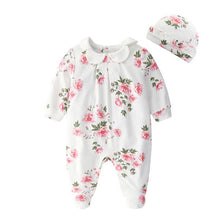 Load image into Gallery viewer, Newborn Baby Girl Clothes Lace Flowers Jumpsuits & Hats Clothing Sets Princess Girls Footies - shopbabyitems
