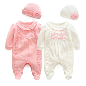 Newborn Baby Girl Clothes Lace Flowers Jumpsuits & Hats Clothing Sets Princess Girls Footies - shopbabyitems