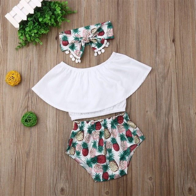 Baby Girl Clothes Lotus Leaf Collar Crop Tops Pineapple Print Short Pants Headband 3PCS - shopbabyitems