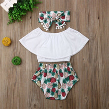 Load image into Gallery viewer, Baby Girl Clothes Lotus Leaf Collar Crop Tops Pineapple Print Short Pants Headband 3PCS - shopbabyitems