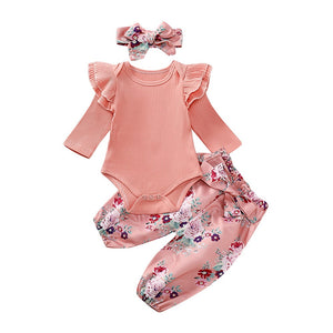 Newborn Baby Girl Romper Bodysuit cotton infantil baby girl clothes long sleeve Tops+Pants Headband 3pcs Outfits Clothes Set D25 - shopbabyitems