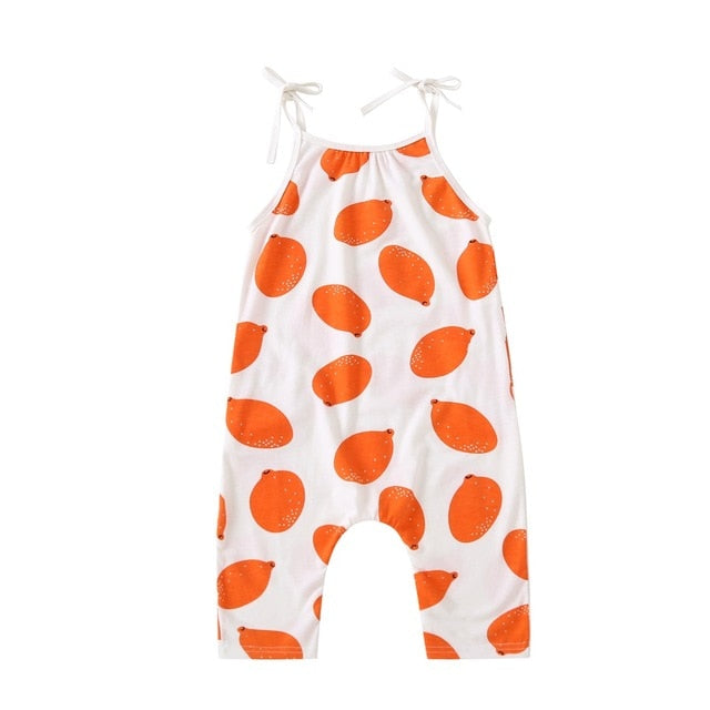 Newborn Baby Kids Boy Girl Rompers Toddler Lemmon Sleeveless Round Neck Cotton Jumpsuit Playsuit Boys Girls Romper Outfits - shopbabyitems