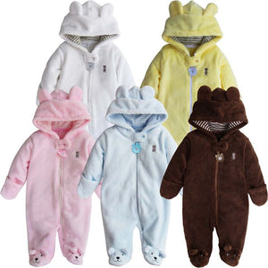 Newborn Baby Rompers Polar Fleece Baby Girls Clothes Pure Color Infant Jumpsuit - shopbabyitems