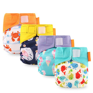Newborn Cloth Diapers Multi-absorbent Diaper Washable Double Gusset Layer Velcro Reusable Nappies Ecological Training Panties - shopbabyitems