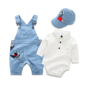 Newborn Clothes Toddler Boy Hat Romper Clothing Baby Set 3PCS Cotton Bib Long-sleeved Jumpsuit Suit Boys Fashion Outfit 3 6 24M - shopbabyitems
