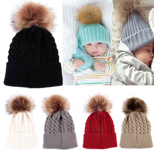 Newborn Cute Winter Kids Baby Hats Knitted Wool Hemming Hat - shopbabyitems