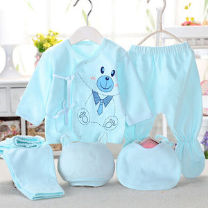 Newborn Infant Baby Suits Boys Girls Clothes Sets tops Pants bibs hats Girl Clothing set for baby girls outfit 5PCS/SET - shopbabyitems