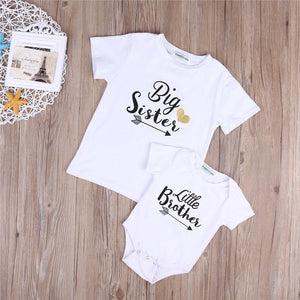 Newborn Kid Baby Little Brother Romper Bodysuit Big Sister T-shirt Outfits Set Casual plain Outfits Infantil Clothing costume - shopbabyitems