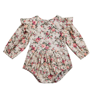 Newborn Toddler Baby Girls Ruffles Floral Romper Jumpsuit Outfits Clothes - shopbabyitems