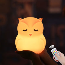 Load image into Gallery viewer, Owl LED Night Light Touch Sensor Remote Control 9 Colors Dimmable Timer USB Rechargeable Silicone Bedside Lamp for Children Baby - shopbabyitems