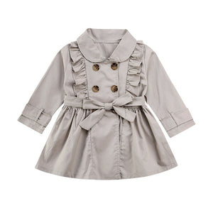 Toddlers Girl Bandage Casual Jacket Windbreaker Dress Coat Long Ruffle Trench Outwear 2-7T - shopbabyitems