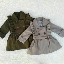 Load image into Gallery viewer, Toddlers Girl Bandage Casual Jacket Windbreaker Dress Coat Long Ruffle Trench Outwear 2-7T - shopbabyitems