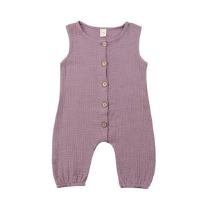 UK Hot Newborn Toddler Kids Baby Girls Boys Solid Button Romper Jumpsuit Outfits - shopbabyitems