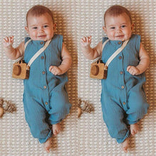 Load image into Gallery viewer, UK Hot Newborn Toddler Kids Baby Girls Boys Solid Button Romper Jumpsuit Outfits - shopbabyitems