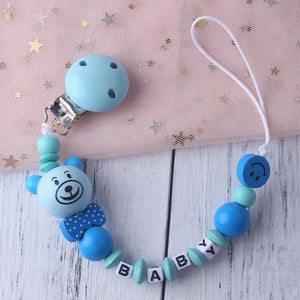 Personalized Name Baby Pacifier Clip Chain Infant Boys Girls Cute Cartoon Bear Toys - shopbabyitems