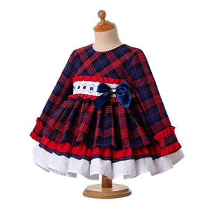 Fall Red Girls Clothes Outfits Baby Grid Christmas Dress + PP Pants+Headwear - shopbabyitems