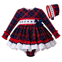 Load image into Gallery viewer, Fall Red Girls Clothes Outfits Baby Grid Christmas Dress + PP Pants+Headwear - shopbabyitems