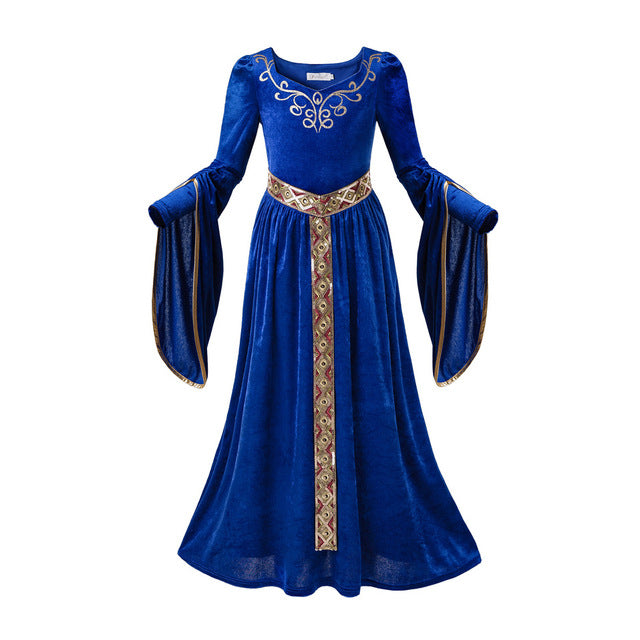 Medieval Blue Velvet Princess Costume Renaissance Cosplay Kids Clothes Fantasy - shopbabyitems