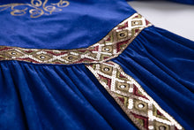 Load image into Gallery viewer, Medieval Blue Velvet Princess Costume Renaissance Cosplay Kids Clothes Fantasy - shopbabyitems