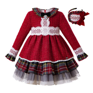 New Fall Bling Christmas Girl Dress+Headwear Red Grid Girls Princess Party Dresses - shopbabyitems