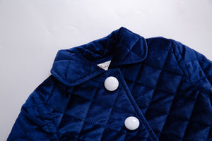 Royal blue  Winter Girls Coats With Single Breasted Baby Girl Clothing - shopbabyitems