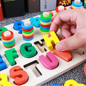 Preschool Wooden Montessori Toys Count Geometric Shape Cognition Match - shopbabyitems