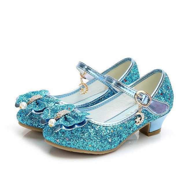 Casual Glitter Children High Heel Girls Shoes Butterfly Knot Blue Pink Silver - shopbabyitems