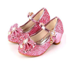 Load image into Gallery viewer, Casual Glitter Children High Heel Girls Shoes Butterfly Knot Blue Pink Silver - shopbabyitems