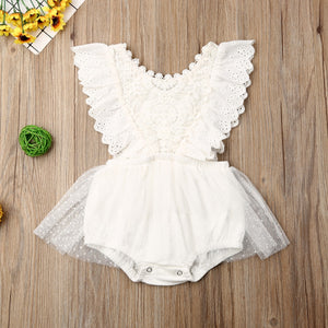 0-24M Newborn Baby Girls Autumn Clothes Flower Lace Romper Dress - shopbabyitems