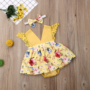 Print Romper Dress Headband 2Pcs Outfits Clothes Summer - shopbabyitems