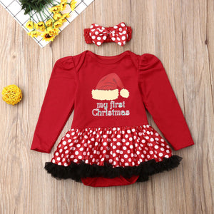 Newborn Baby Girl Clothes My 1st Christmas Print Ruffle Romper Headband 2Pcs Outfits Clothes Christmas Set - shopbabyitems
