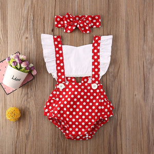 Newborn Baby Girl Clothes Polka Dot Print Flower Fly Sleeve Romper Jumpsuit Headband 2Pcs Outfits Sunsuit Summer Set - shopbabyitems