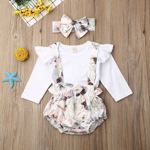 Pudcoco Newborn Baby Girl Clothes Solid Color Long Sleeve Romper Tops Strap Flower Print Short Pants Headband 3Pcs Outfits Set - shopbabyitems