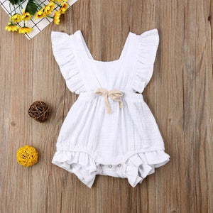 Newborn Infant Baby Girl Clothes Ruffle Solid Romper Sleeveless Jumpsuit - shopbabyitems