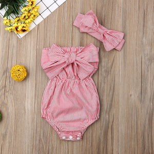 Newest Fashion Newborn Baby Girl Clothes Off Shoulder Bowknot Striped Bodysuit - shopbabyitems