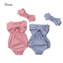 Load image into Gallery viewer, Newest Fashion Newborn Baby Girl Clothes Off Shoulder Bowknot Striped Bodysuit - shopbabyitems