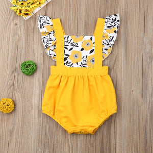 Pudcoco Summer Newborn Baby Girl Clothes Fly Sleeve Sunflower Print Romper - shopbabyitems